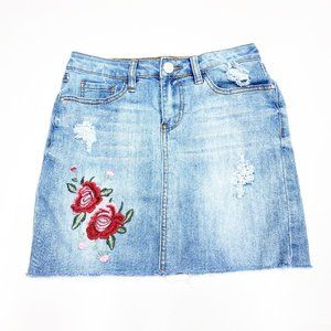 Refuge Denim Mini Jean Skirt Embroidered Small
